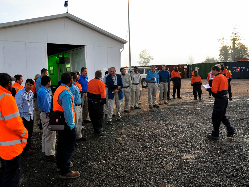 Chilly 6am safety meeting Kobalu Camp in the PNG Highlands. Exxon PNG LNG project 2010
